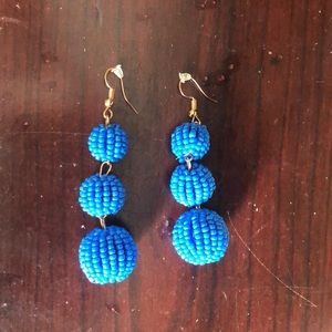 Long blue beaded earrings